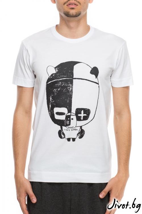 Бял мъжки тишърт с принт панда / TONI DARK