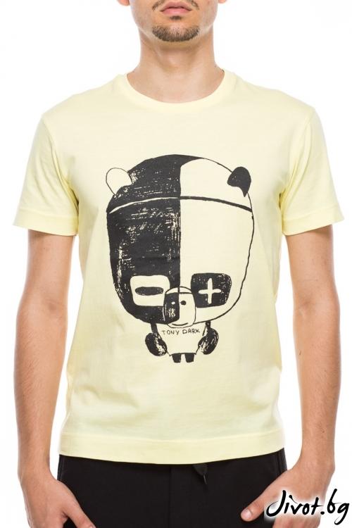 Жълт мъжки тишърт с принт панда / TONI DARK