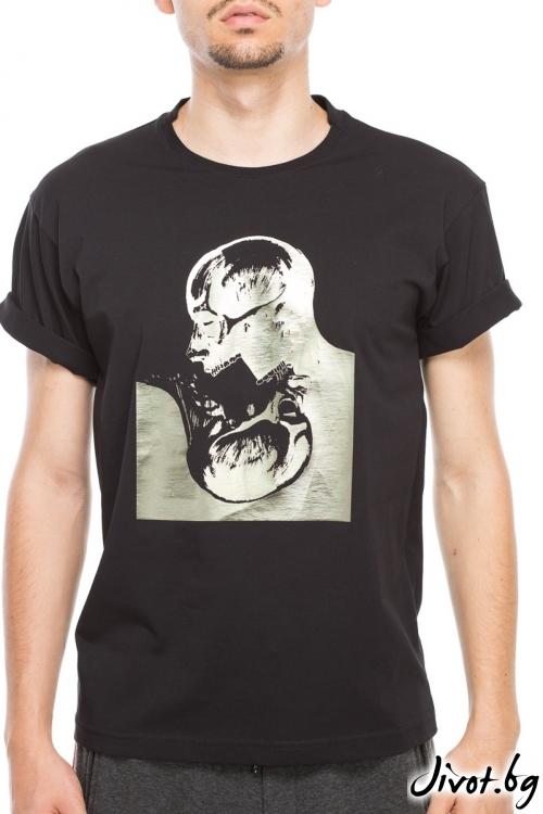 Черен мъжки тишърт с принт черепи / TONI DARK