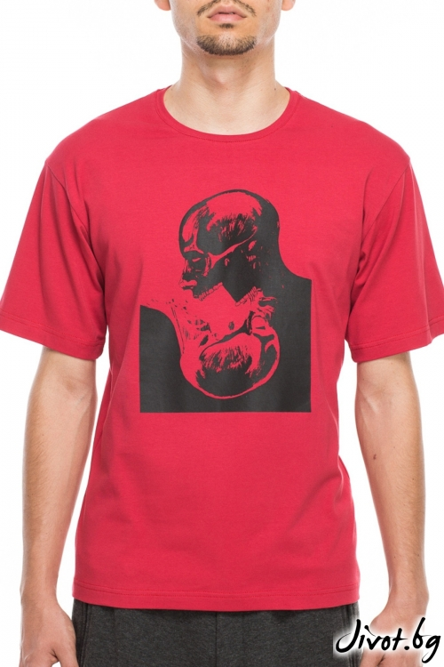 Червен мъжки тишърт с принт черепи / TONI DARK