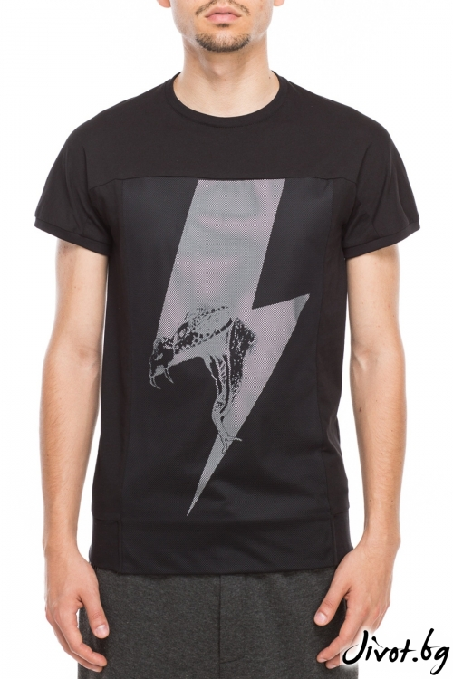 Черна тениска с мрежест панел / TONI DARK