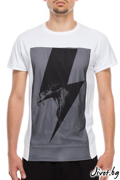 Бяла тениска с мрежест панел / TONI DARK