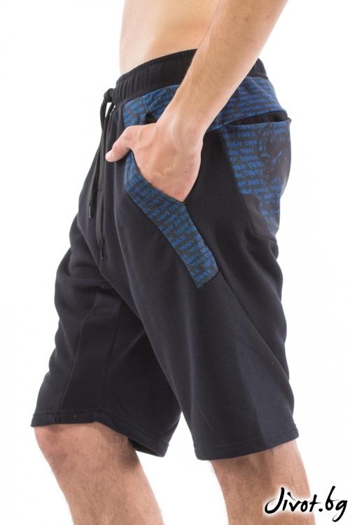 Мъжки черни къси панталони с принтиран панел / TONI DARK