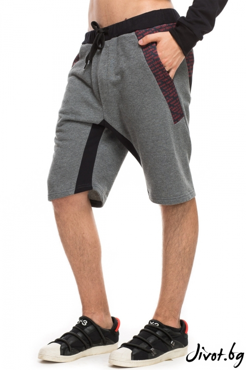 Мъжки сиви шорти с принтиран панел / TONI DARK