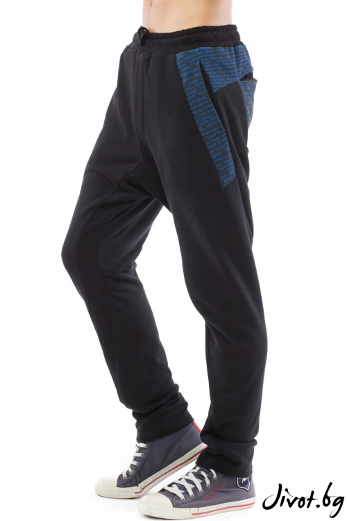 Спортен черен панталон с принт / TONI DARK