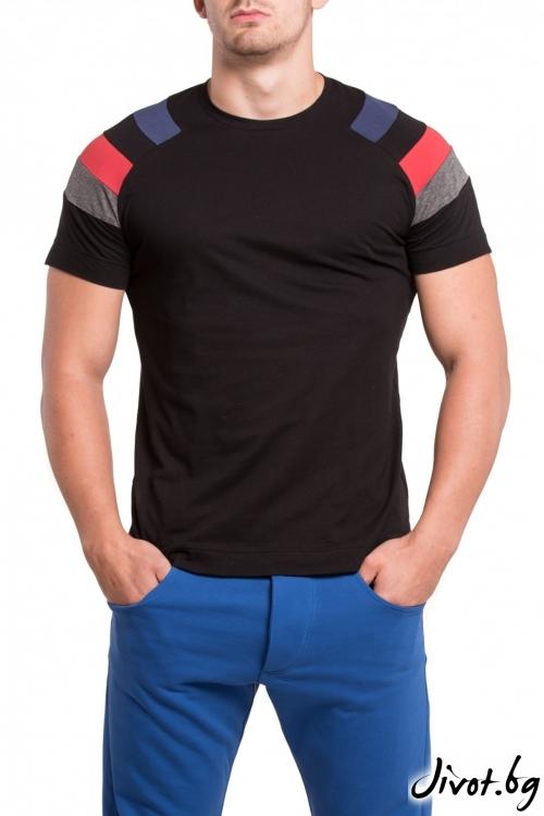 Черна тениска с цветни ръкави / TONI DARK