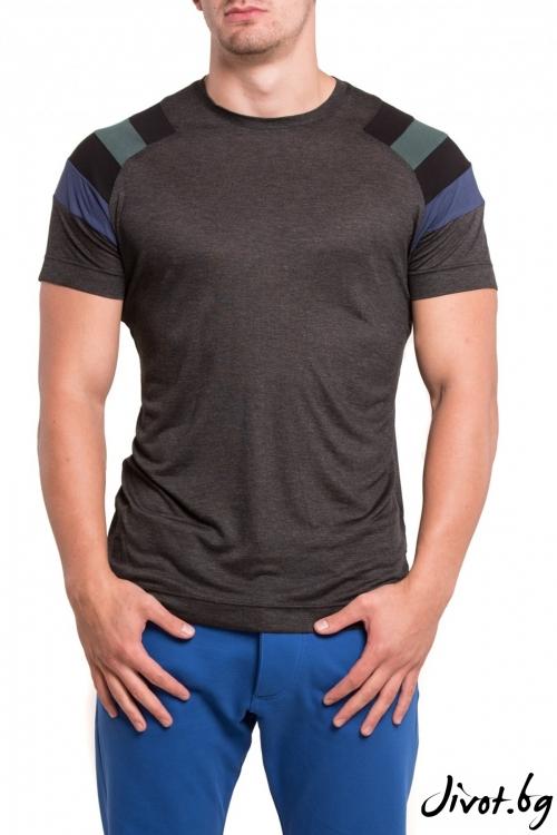 Сива тениска с цветни ръкави / TONI DARK