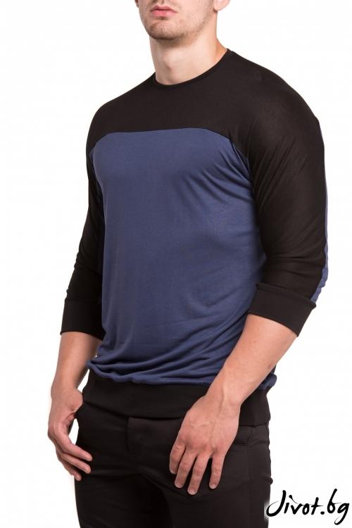 Синя блуза с три четвърт ръкав / TONI DARK
