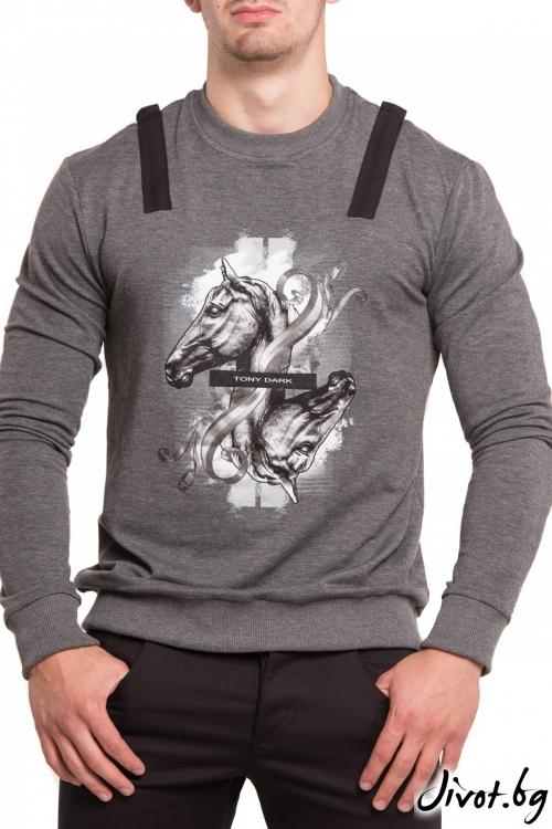 Сива блуза с дълъг ръкав и принт кон / TONI DARK