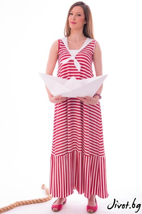 Дълга рокля червено райе / Vivastela