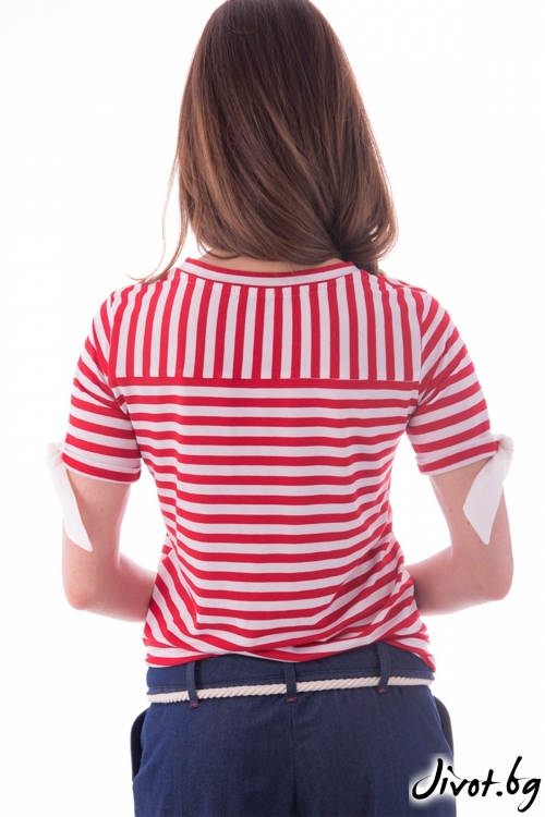 Дамска тениска червено райе / Vivastela