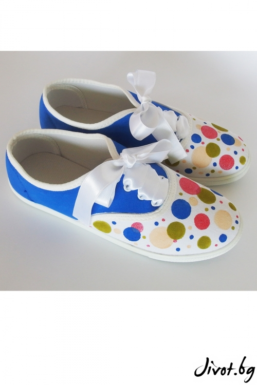 Ръчно рисувани и декорирани кецове с цветни точки / FETSKI