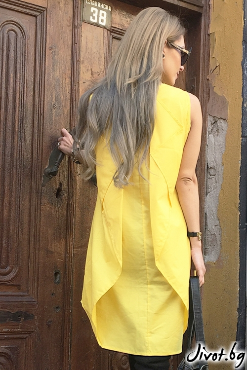 Дамски жълт топ без ръкави / By Angela