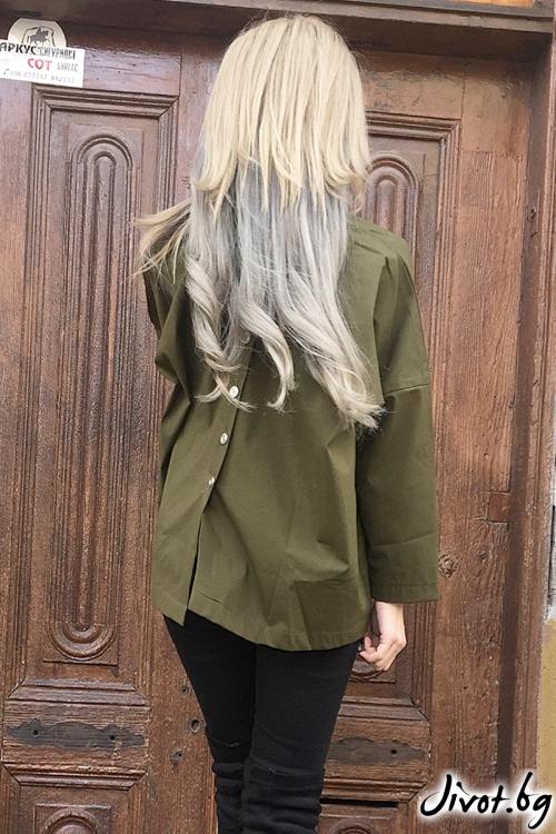 Зелена дамска риза с принт / By Angela