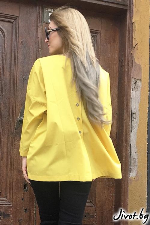 Жълта дамска риза с принт / By Angela
