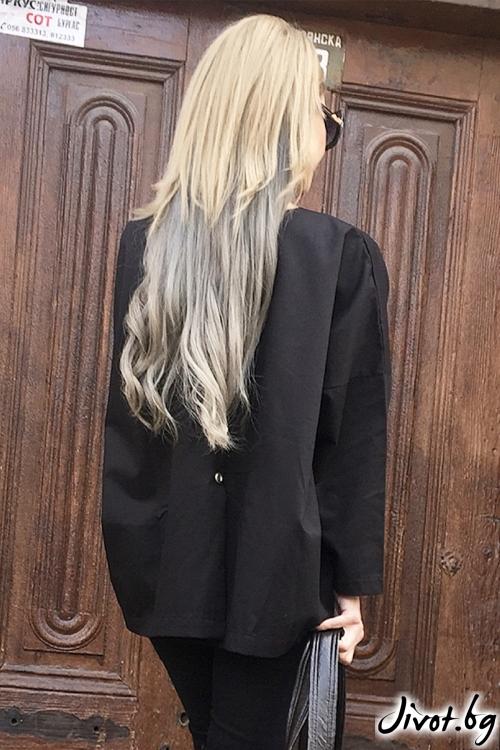Черна дамска риза с принт / By Angela