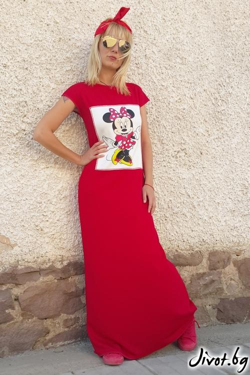 Дълга червена рокля със щампа / Jeni&Migla