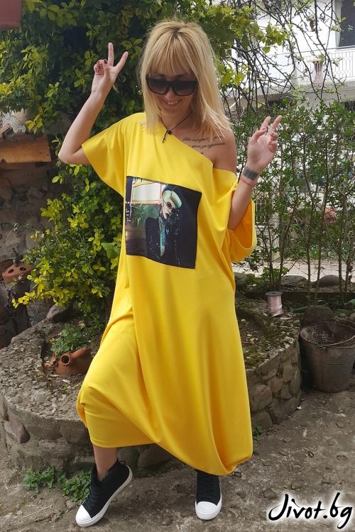Дълга дамска жълта рокля с принт / Jeni&Migla