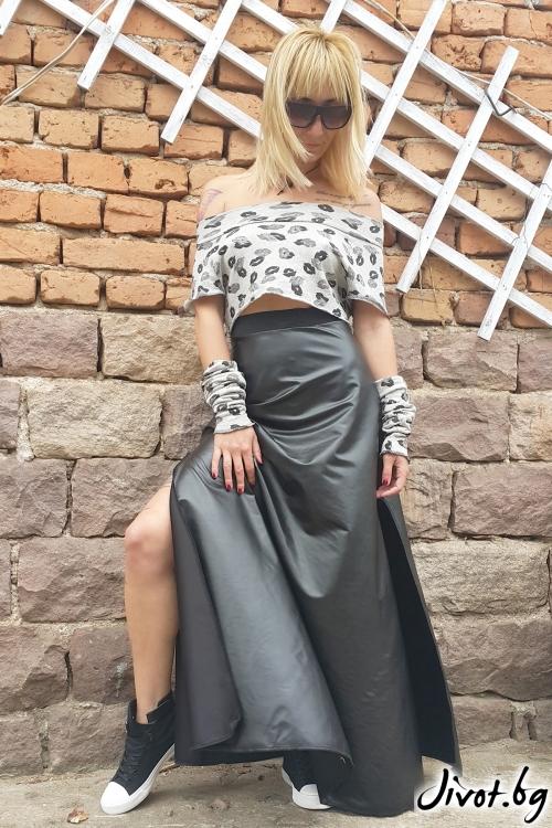 Дълга дамска пола от еко кожа / Jeni&Migla