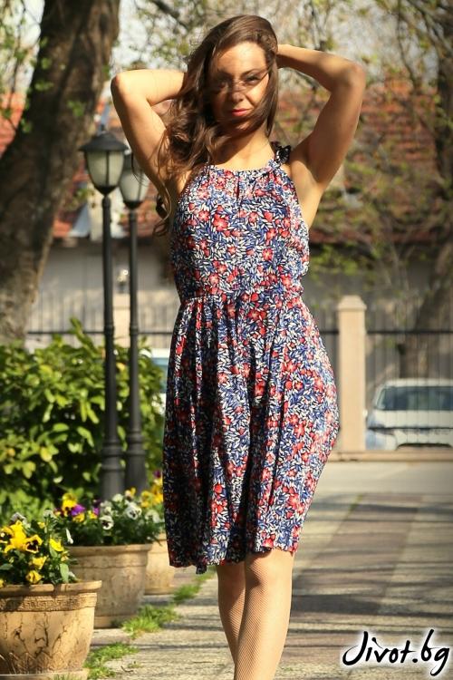 Дамска рокля с флорален мотив / Alenia