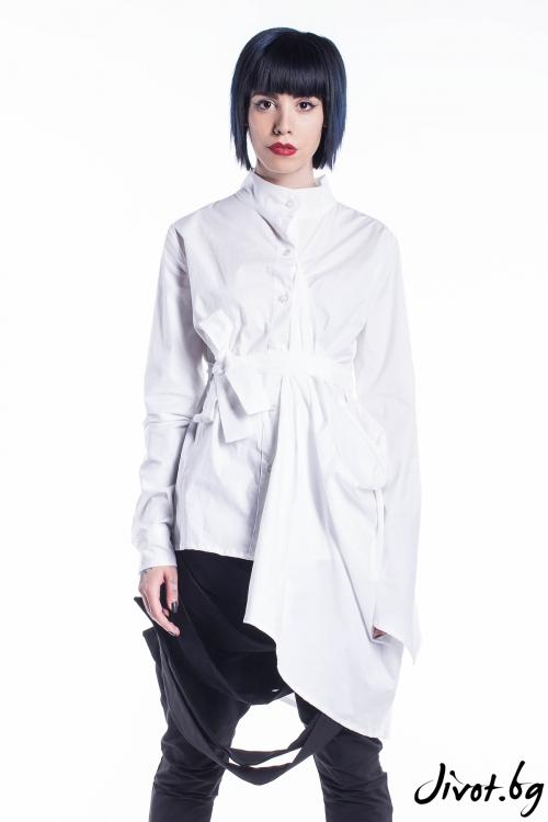 Бяла деконструктивна лятна риза / Maria Queen Maria