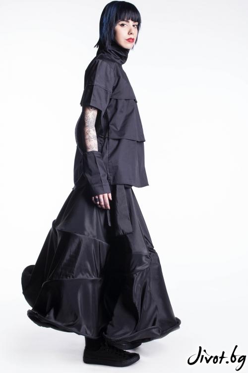 Черна дълга пола от тафта / Maria Queen Maria