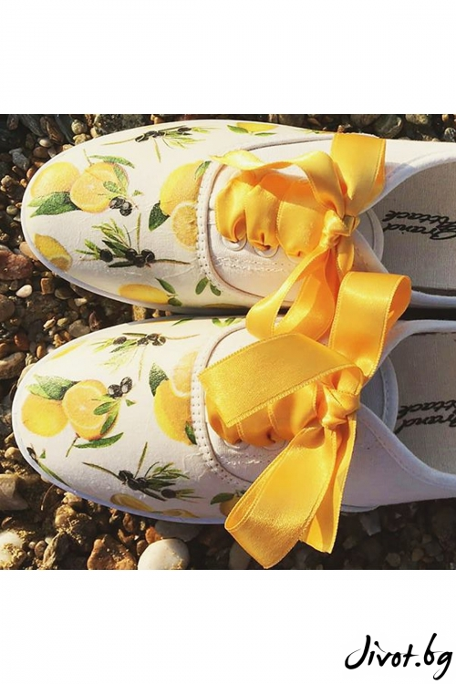 "Нежни дамски спортни обувки с декупаж ""Лимони"" / FETSKI"