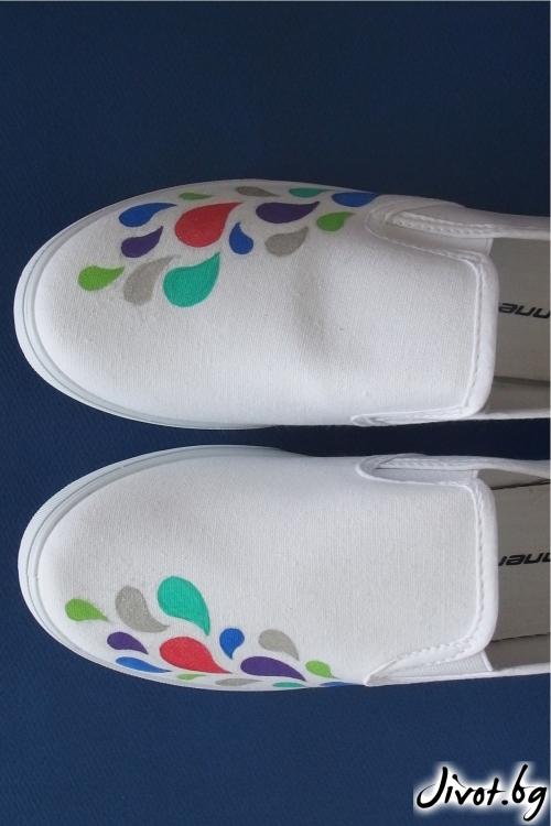 Бели ръчно рисувани гуменки / FETSKI