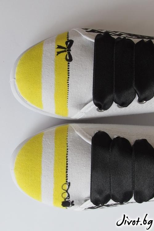 Ръчно рсувани гуменки в черно, бяло и жълто / FETSKI