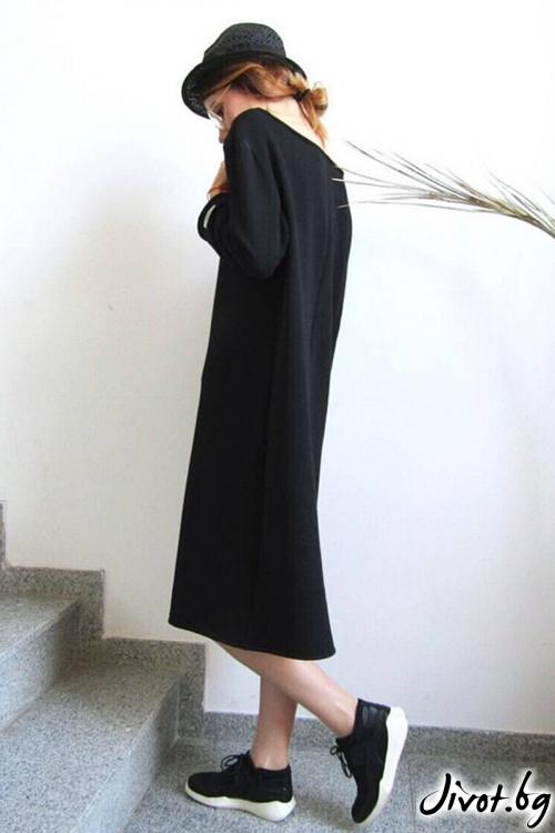 Long fit блуза със закачлива щампа / FABRA MODA STUDIO