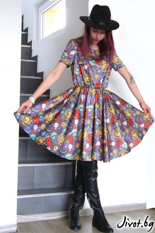Пъстроцветна разкроена рокля / FABRA MODA STUDIO