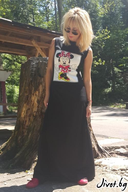 """Дамска дълга черна рокля с принт """"Мину маус"""" / Jeni&Migla"""