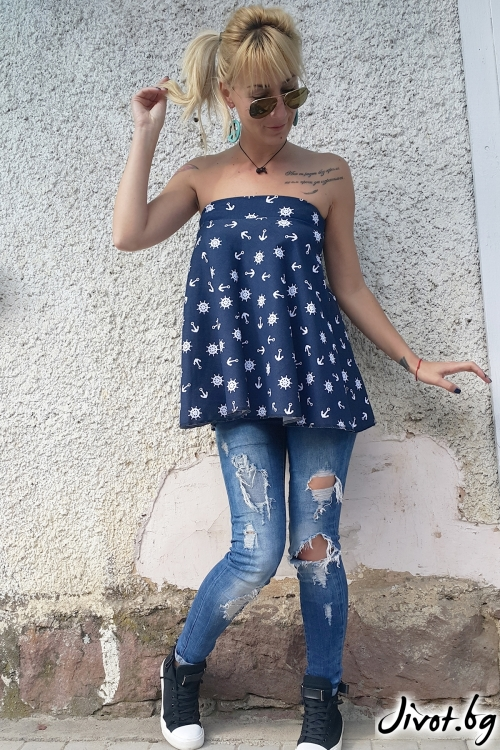Синя дамска туника с уникален дизайн / Jeni&Migla
