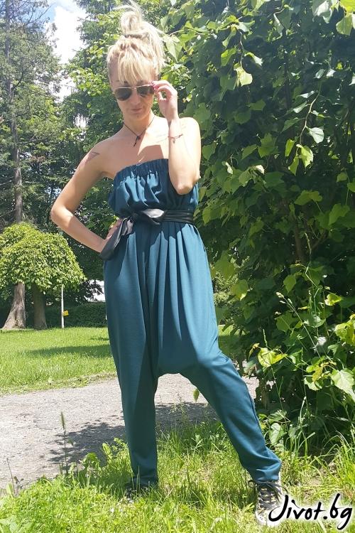 Зелен дамски гащеризон / Jeni&Migla