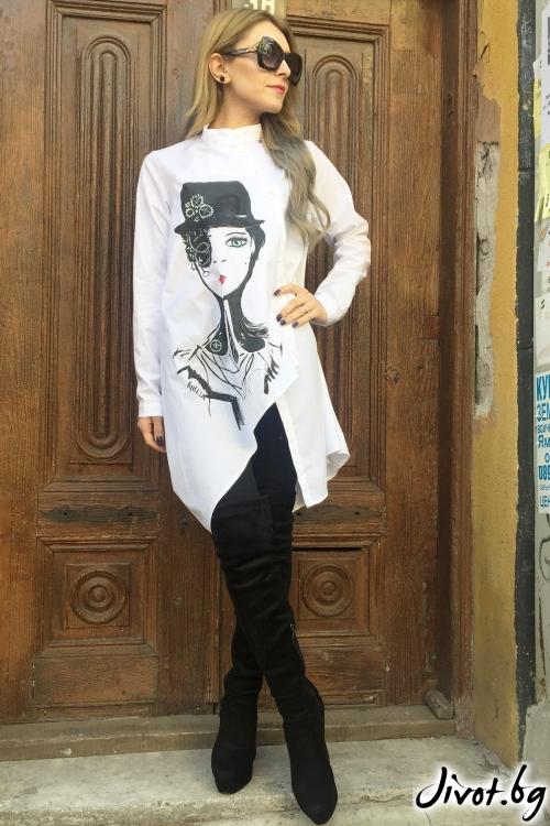 Бяла дамска риза с принт / By Angela