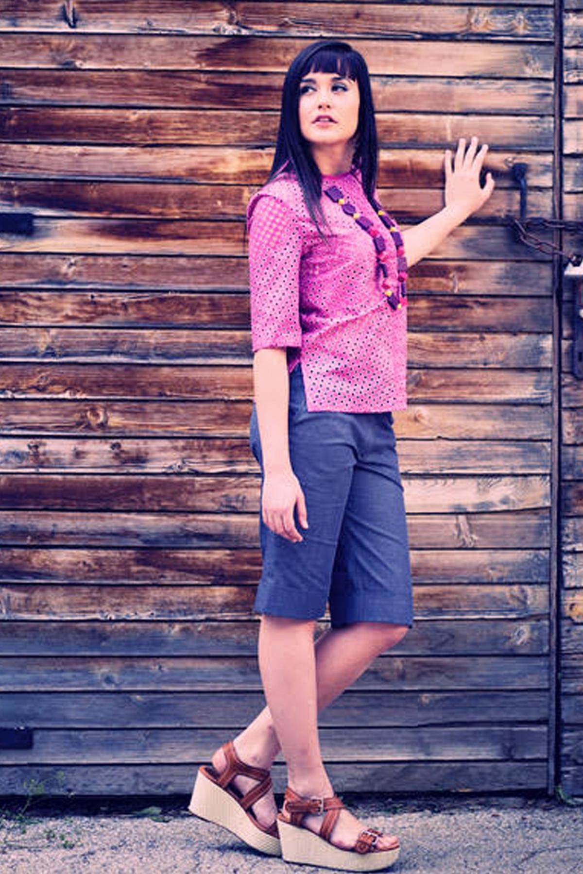 Къси панталони от летен сив деним / Модна къща АМБИЦИЯ