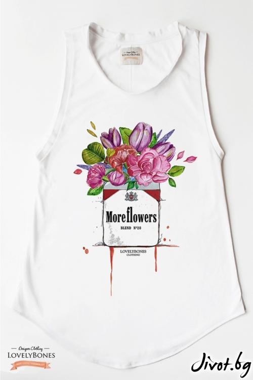 "Дамска туника без ръкави ""More Flowers"" /LovelyBones Clothing"