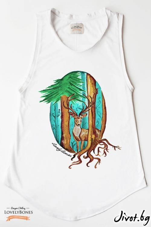 "Дамска туника без ръкави ""Deer and Forest"" /LovelyBones Clothing"