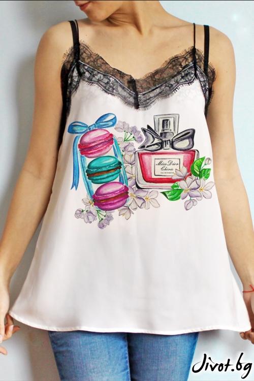 """Дамска туника без ръкави """"Dior and macarons"""" /LovelyBones Clothing"""