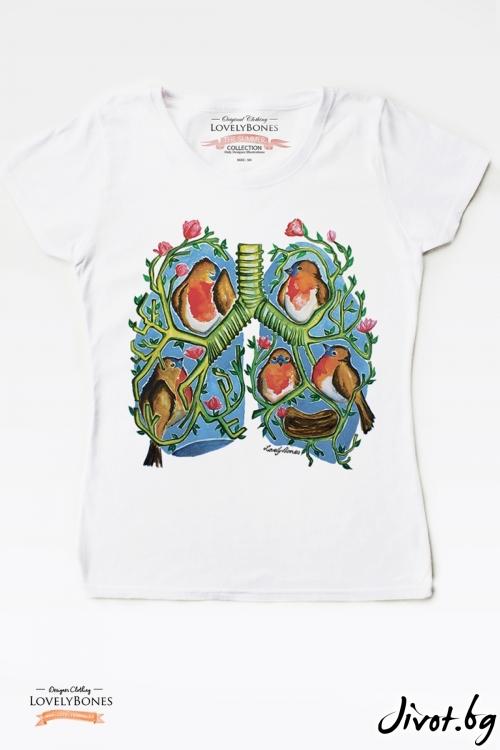 "Дамска тениска ""A breath of colours"" / LovelyBones Clothing"