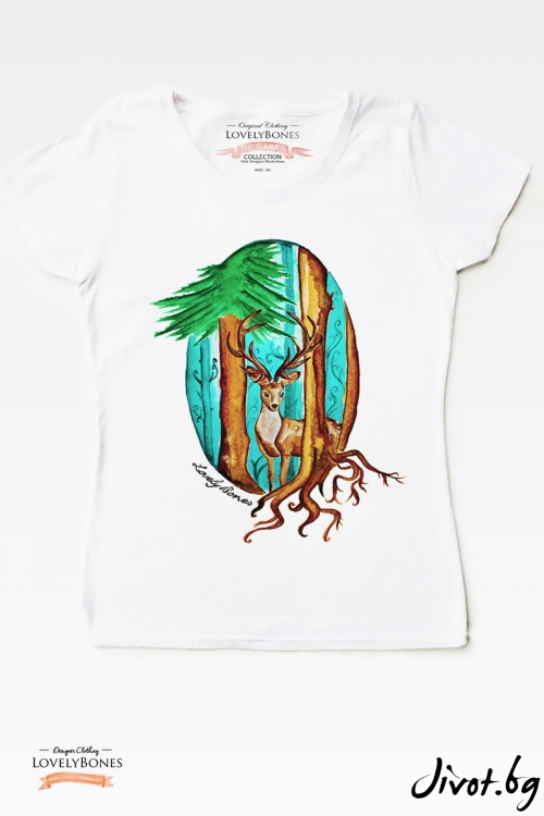 "Дамска тениска ""Deer and forest"" / LovelyBones Clothing"