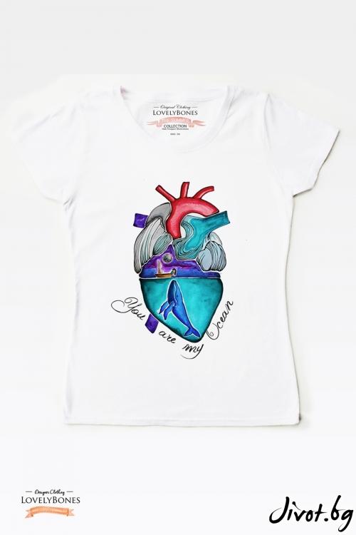 "Дамска тениска ""Ocean heart"" / LovelyBones Clothing"