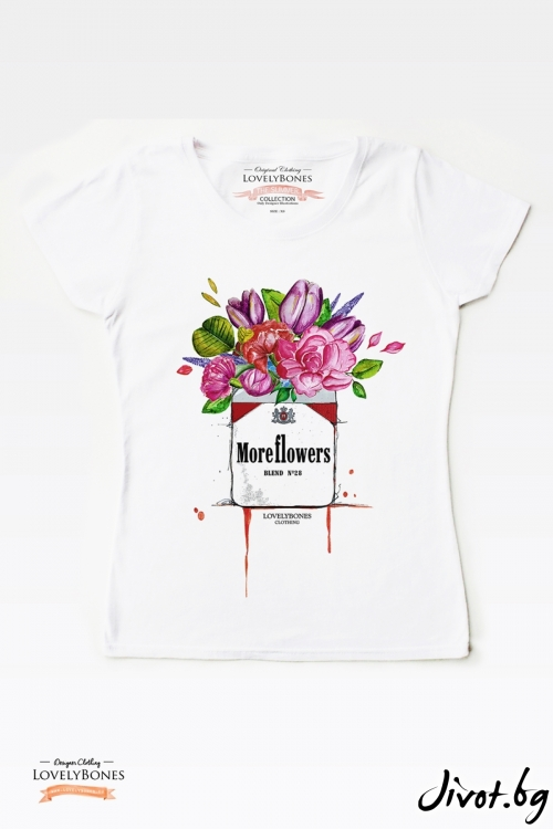"Дамска тениска ""More Flowers"" / LovelyBones Clothing"