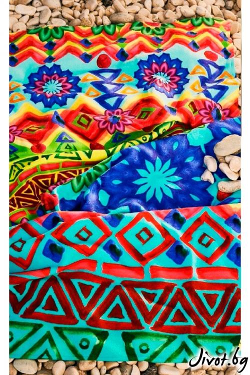 Уникална шарена плажна кърпа