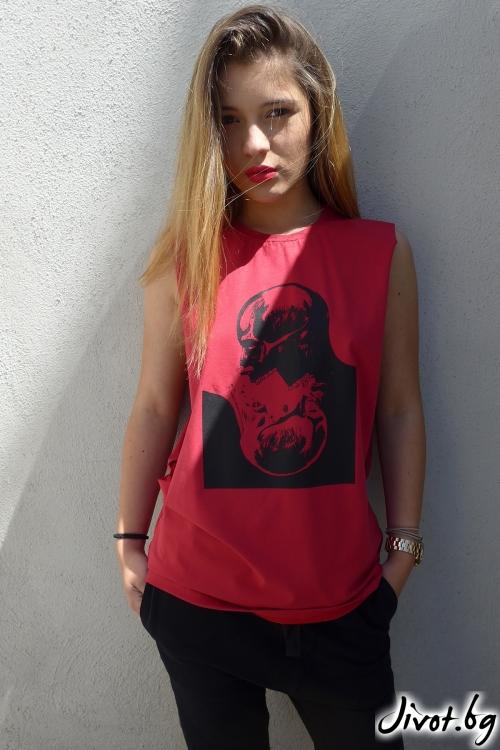 Дамски червен топ без ръкави с принт череп / TONI DARK