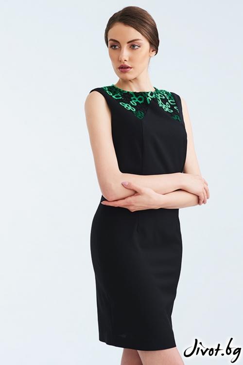 Черна рокля със зелена, дантелена яка / Lila Style House