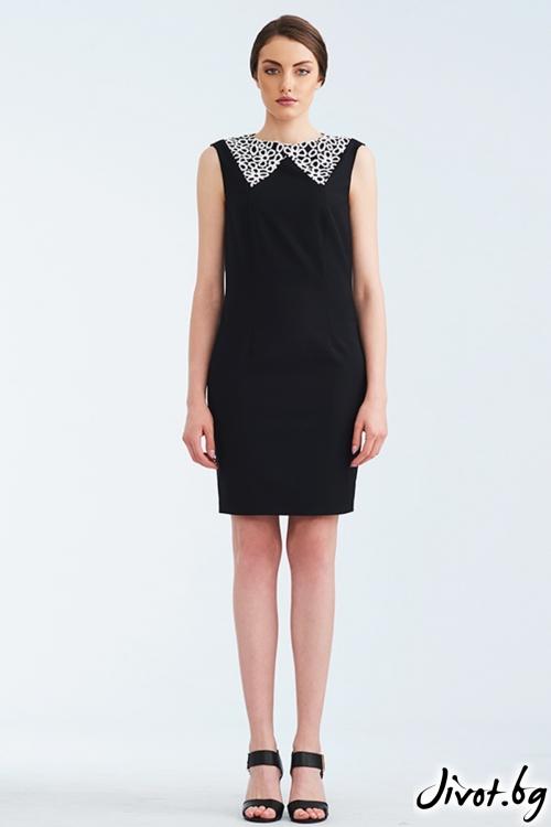 Черна рокля с бяла дантелена яка / Lila Style House
