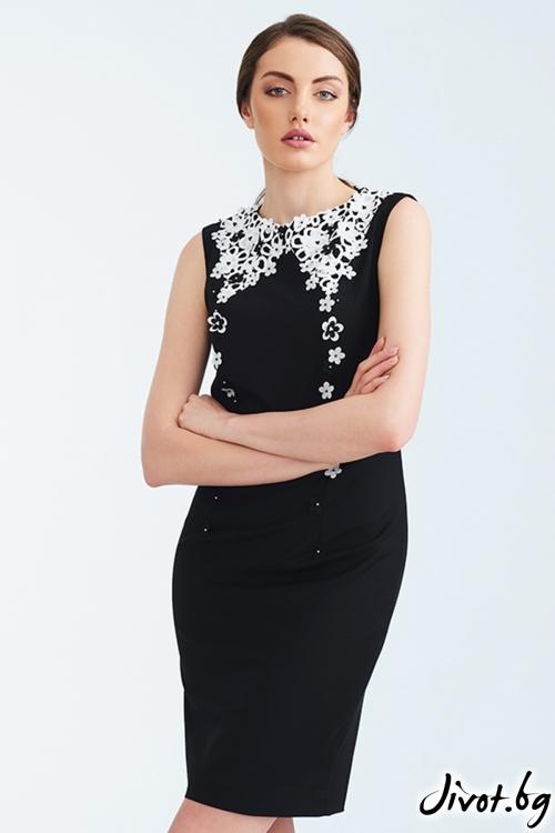 Къса черна рокля с бродирана бяла яка / Lila Style House