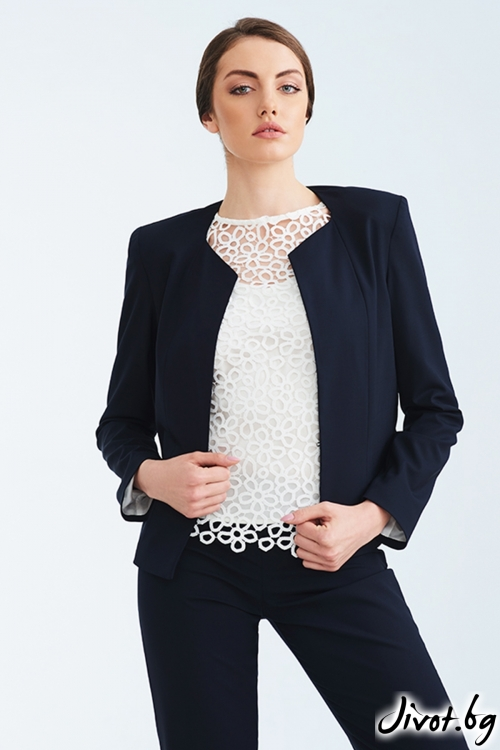 Дамско тъмно синьо късо сако / Lila Style House