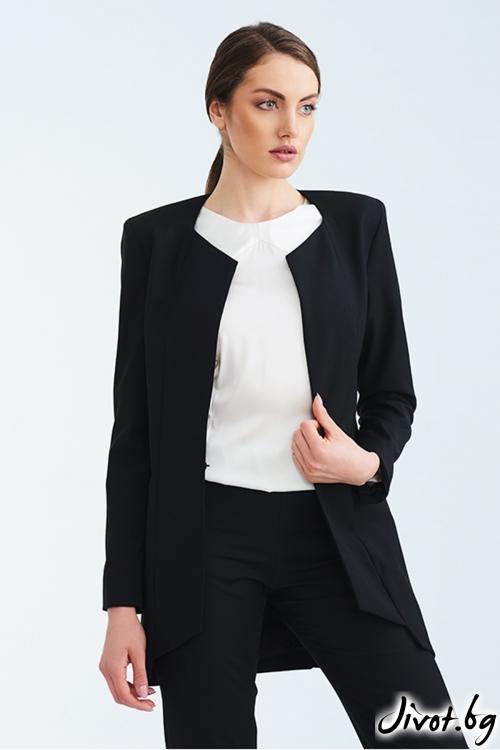 Черно дълго вталено сако / Lila Style House